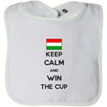 Cute Rascals Hungary Keep Calm Win The Cup Soccer Tot Contrast Trim Terry Bib