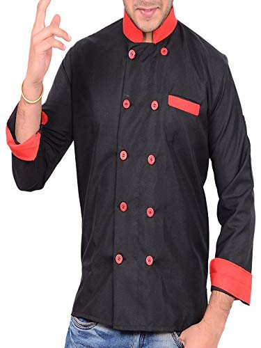 Black Designer Men Chef Coat Full Sleeve Size-M