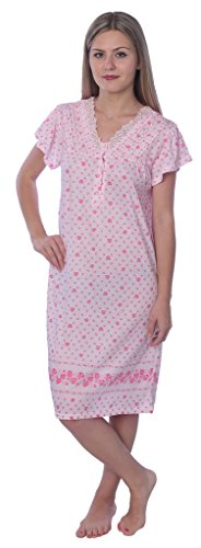 (Beverly Rock Women's Floral Print Short Sleeve Knit Nightgown RQ122 Pink XXL)