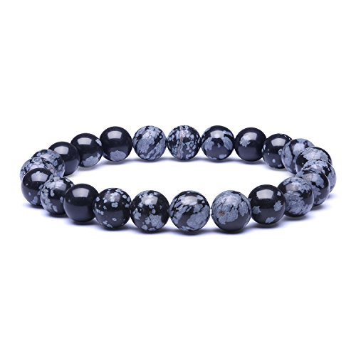 Candyfancy 8mm Natural Snowflake Obsidian Stone Healing Elastic Beaded Stretch Bracelets for Women Men DIY Spiritual Bracelet for 6.8-7.5Inch Wrist (Natural Snowflake -