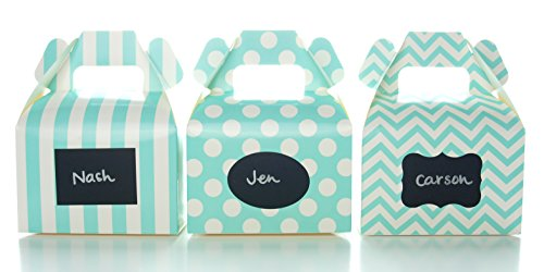 Colored 18 Vinyl Labels - Aqua Blue Green Candy Boxes & Black Label Chalkboard Vinyl Stickers (36 Pack) - Party Supplies, Wedding Favor Boxes, Birthday Treat Holders