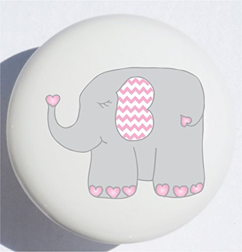 Single Pink Elephant Jungle Safari Drawer Knob Pulls in Your Choice of Animals/Ceramic Dresser or Cabinet Knobs/Pink Baby Elephant Children's Nursery Decor (Elephant) ()