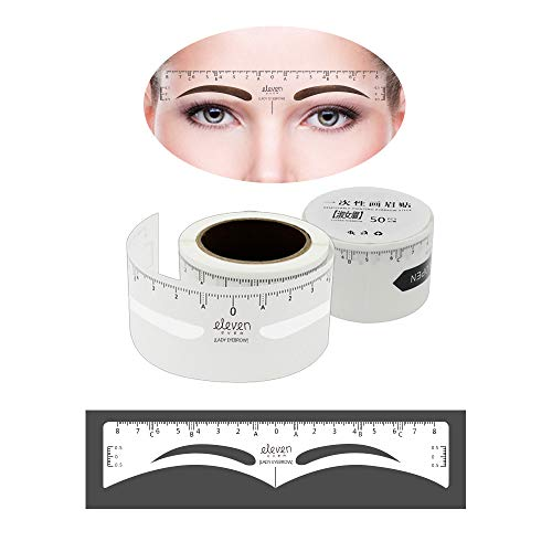 ELEVEN EVER 50Pcs Eyebrow Ruler Sticker, Disposable Eyebrow Shaping Stencils Adhesive Eyebrow Permanent Makeup Measure Tool (Lady Eyebrow)
