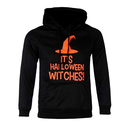 Clearance Sales,WUAI Mens Casusal Dress Hooded Sweatshirt Long Sleeve Halloween Costumes Letter Print Hoodie Tops(Black ,US Size XL = Tag 2XL) ()