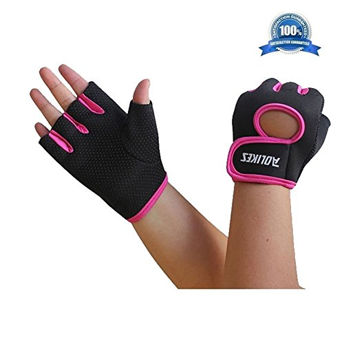 Wonzone Anti-skid Half Finger Gloves unisex Cycling Bike Bicycle Gel Gloves Half Finger Ultra-breathable Outdoor Sports Shockproof half finger Glove for Women Men Kids Girls Boys Teens (Pink ()