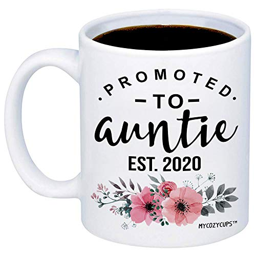 MyCozyCups Baby Reveal Gift For Sister - Promoted To Aunt 2020 Coffee Mug - New Mommy To Be Gift Idea For Aunties - New Parents Pregnancy Surprise Announcement Photo Prop Cup For Her