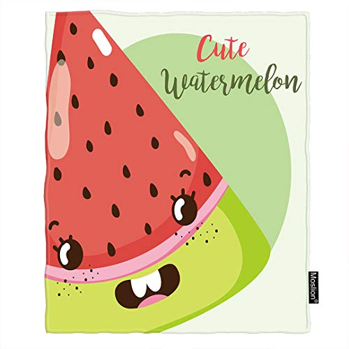 - Moslion Watermelon Throw Blanket Cute Fruit Kawaii Watermelon Emotion with Polka Dot Blanket Home Decorative Flannel Warm Travel Blankets 30x40 Inch for Pet Dog Cat Green Red