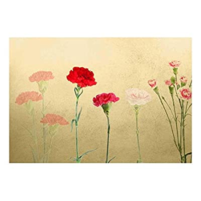 Beautiful Technique, Red and Pink Carnations with Copper Textured Background Wall Mural, Premium Creation