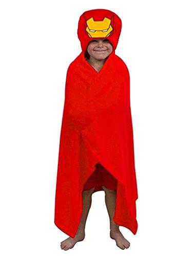 Captain America & Iron Man Boys One Size Cuddle Robe (Iron Man Red)