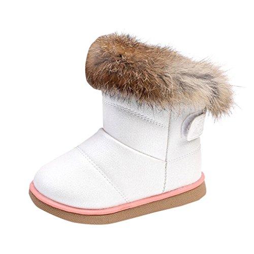 Baby Stiefel, Chshe Säugling Sohle Dichotomanthes Obere PU-Leder Kaninchenhaar Gedruckt Dick Schnee Schuhe(1-6 Jahre) Weiß