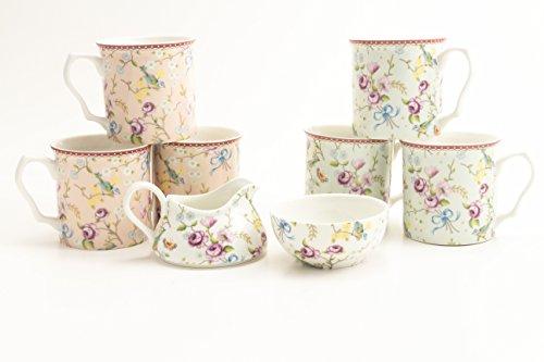 Bird and Blossoms Porcelain Gift Set - 6 Porcelain Mugs, 1 Sugar Bowl & Cream - by Shannonbridge Ireland by Shannonbridge