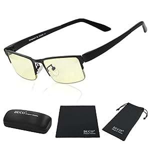 DUCO Optiks Computer Gaming Glasses Anti blue light 100% UV protection Amber Lens GX090 Matte Black