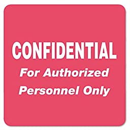 Medical Labels for Confidential, 2 x 2, Red, 500/Roll, Sold as 1 Roll