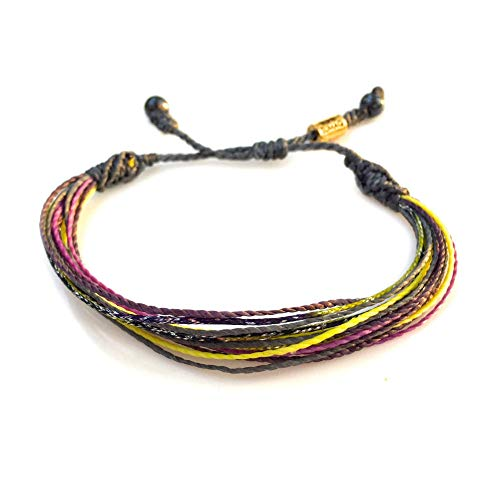String Surfer Adjustable Bracelet Gray Yellow Violet Purple Waxed Cord RUMI SUMAQ