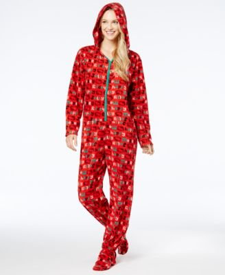 Hello Kitty Christmas Cheer Fleece Footie One Piece Hooded Pajama For Women (Large)