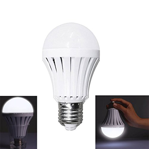 Alotm LED Light Bulbs 12W - Human Body & Water Induction Emergency Lamps Household Lighting Bulbs, Energy Saving Intelligent Light Rechargable Electricity Lamp 6000k White Light 120V E26/E27 Volt Br40 Flood