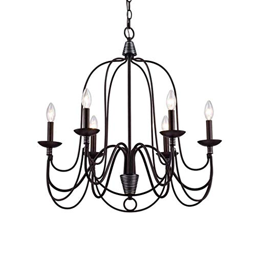 CLAXY Ecopower Lighting Industrial Vintage 6-Lights Candle Chandeliers ()