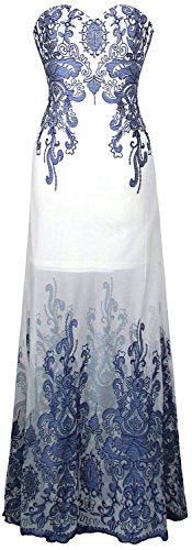 Angel Blumen Blau Lang fashions Cocktailkleid Transparent Weiss Stickerei Damen Schatz AHqAwWOSr