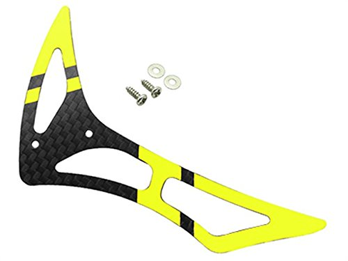 Rakon CNC 3K Pure Carbon Fiber Tail Fin Set (Black-Yellow) - Blade 230S