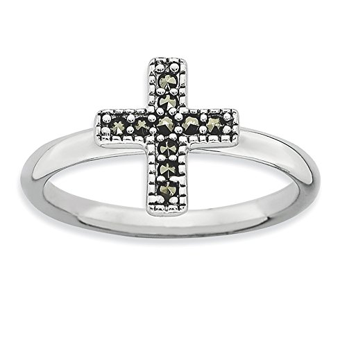 - Sterling Silver Themed Ring Solid Polished Rhodium 2.25 mm 2.25 mm Stackable Expressions Marcasite Cross Ring