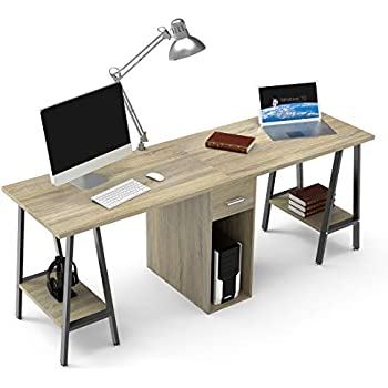 dewel two person computer desk with drawers. Black Bedroom Furniture Sets. Home Design Ideas
