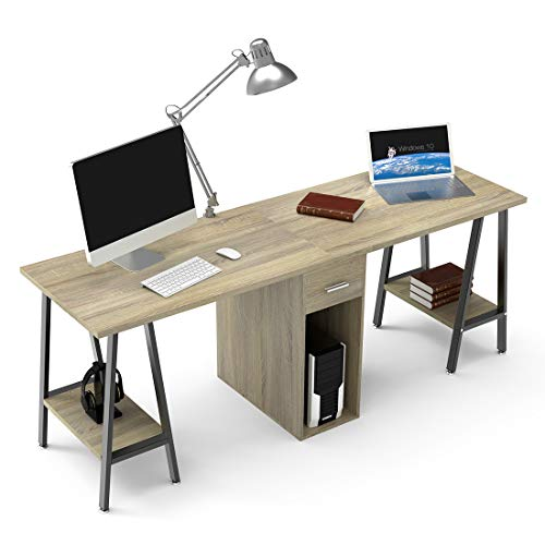 DEWEL Two Person Computer Desk with Drawers 78'' Extra Large Long Computer Desk Double Workstation Computer desks with Storage Wood Big Dual Computer Desk Executive Office Desk ()