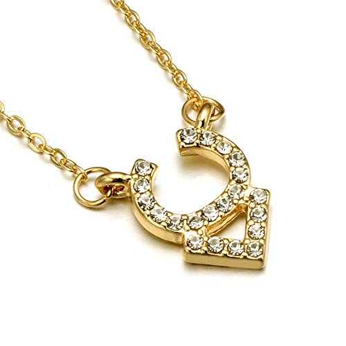 (Gold Zodiac Necklace, Rhinestone Encrusted Taurus Constellation Sign Necklaces for Women )