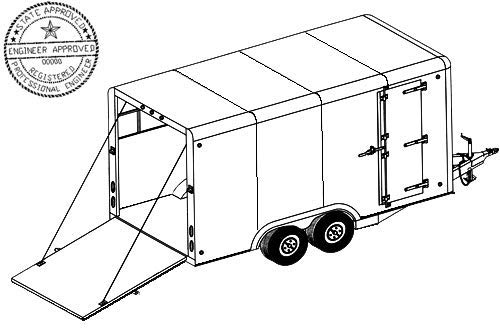 16CC Trailer Plan - 16'x8' Tandem Axle 7K or 10.4K Covered Cargo Trailer DIY How-to Blueprint by Master Plans & Design