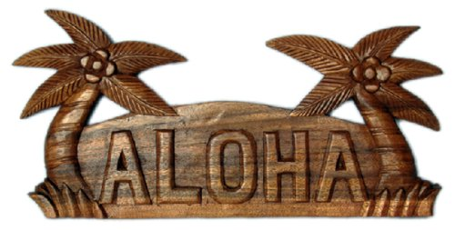 Carved Wood Palm Tree Sign with