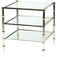 Modern 3 Tier Glass Shelved Square Accent Table; Polished Nickel