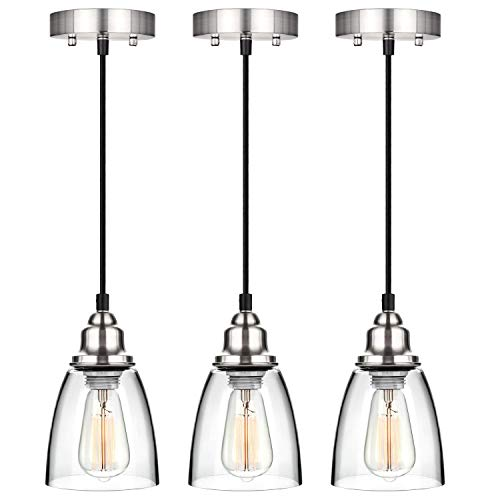 Industrial Mini Pendant Lighting, Clear Glass Shade Hanging Light Fixture, Brushed Nickel, Adjustable Vintage Edison Farmhouse Lamp for Kitchen Island, Restaurants, Hotels and Shops, 3-Pack (Lamps Led Pendant)