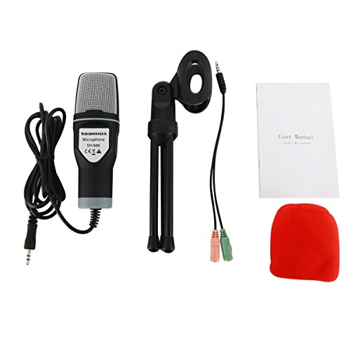 Micrófono de condensador, micrófono de computadora, SOONHUA 3.5MM Plug and Play Mic omnidireccional con soporte de escritorio para juegos, YouTube Video, Podcast de grabación, Estudio, para PC, Laptop, Tableta, Teléfono