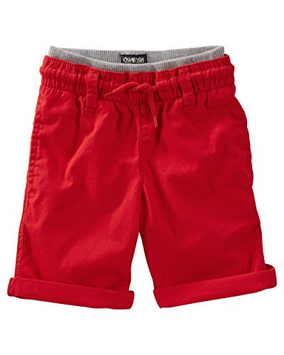 OshKosh B'gosh Little Boys' Pull-On Canvas Shorts, Red, (Canvas Drawstring Shorts)