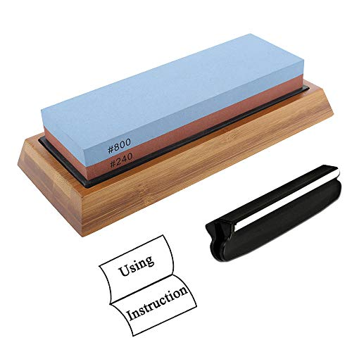 Professional Knife Sharpening Stone set 240/800 Grit Double Side Whetstone with Nonslip Bamboo Base & Angle Guide & Instruction Card (240-800 -