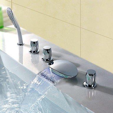 Moderne Moderner Stil LED 3-Loch-Armatur Wasserfall Handdusche inklusive with Messingventil Drei Griffe Fünf Löcher for Chrom , by FAUCET&YAMEIJIA