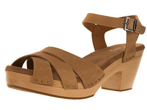 Toms Beatrix Clog Sandals Sandstorm Leather 10007984 Womens