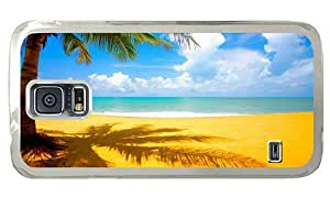 Hipster Samsung Galaxy S5 Case awesome Yellow Sand Beach PC Transparent for Samsung S5