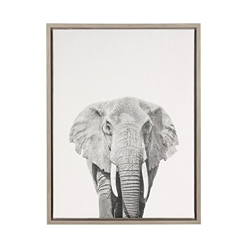Kate and Laurel Sylvie Elephant Black and White Portrait Framed Canvas Wall Art by Simon Te Tai, 18x24 Gray