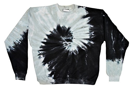 Colortone Tie Dye Crew Neck Fleece Sìral Black Grey Sweatshirt Adult S-3XL Long Sleeve (XX-Large)