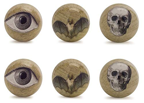 Melrose Set of 12 Assorted Halloween Eyeball, Bat and Skull Orb Decorations 3.75