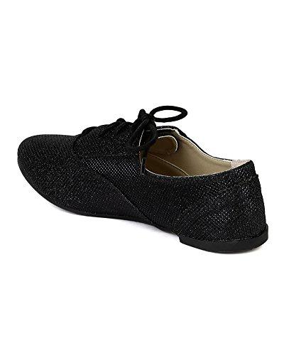 Leatherette Glitter Flat Ballerina Black Oxford BB67 Women 75fnpqwFq