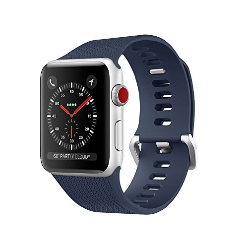 For Apple Watch Band,Ultra-thin Silicone Soft Replacement Sport Band for Apple Watch Series 3/2/1 (38 S/M Midnight Blue (200 Apple)