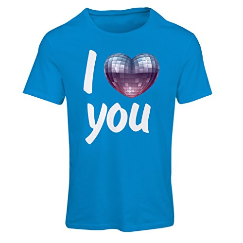 """T shirts for women """"I Love you - disco ball heart"""" retro 80s clothing, music shirt, Valentine gifts (Large Blue Multi Color)"""