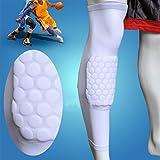 Actpe A Pair of Basketball Strengthen Kneepad Honeycomb Pad Crashproof Antislip Leg Knee Long Sleeve Protective Pad - White, Medium