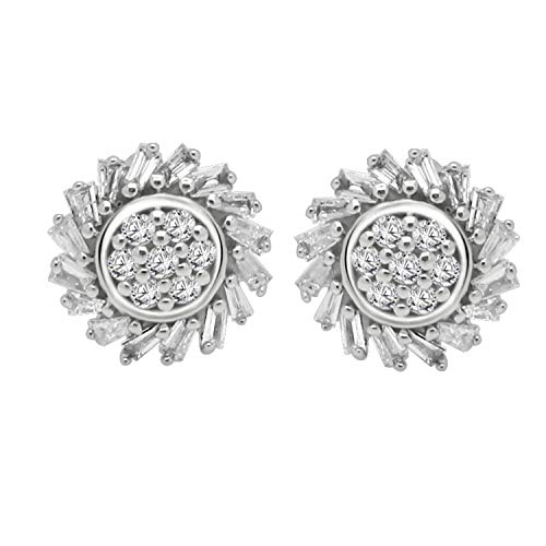 0.28 Ct Round & Baguette Shape Natural Diamond Floral Cluster Stud Earrings For Women ()
