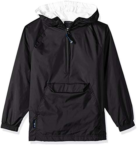 Charles River Apparel Kids' Big Classic Solid Pullover, Black, L (Pullover Lined Windbreaker)