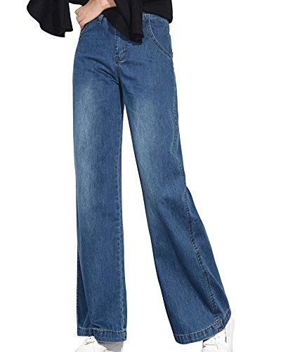 Slim Elefante Blu Campana Taglie Marino Donna Zampa Skinny Jeans Zhuikuna Forti Pantaloni vwIYcT