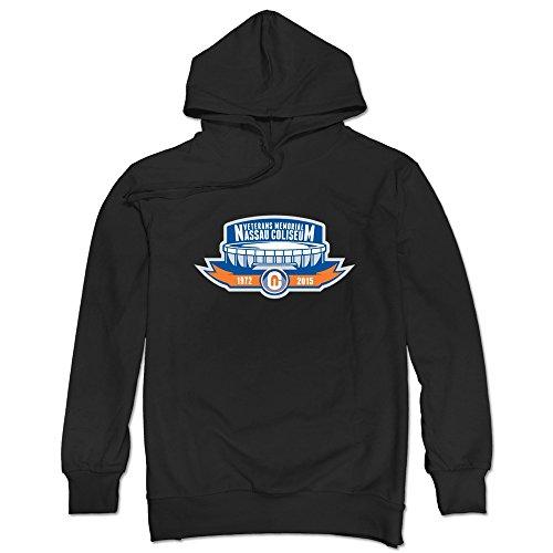 (JUST Men's Ny Islanfers Nassau Coliseum Anniversary Logo Hoodies Black)