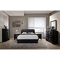 Roundhill Furniture Blemerey 110 Bonded Leather Bed Group, King Bed, Dresser, Mirror, 2 Night Stands, Chest, Black