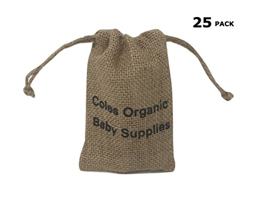 Burlap Bags with Drawstring by Coles Organic Baby Supplies - Size: 5.5 x 4 Inch - 25 Pcs Pack - Eco Friendly Perfect Gift Bags for Art & Craft Projects, Wedding Party, Presents, Snack & Jewelry.